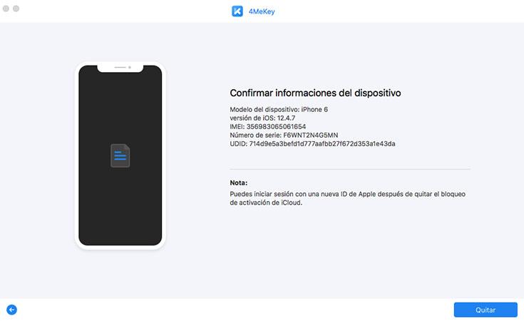 confirmar información del dispositivo - guía de 4mekey