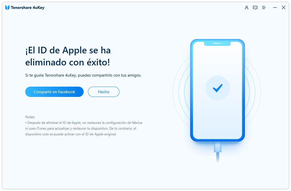 eliminar cuenta apple id con éxito