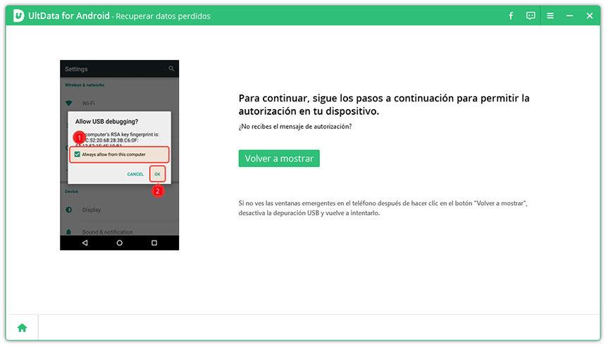 permite autoriazación de depuración de usb según ultdata android