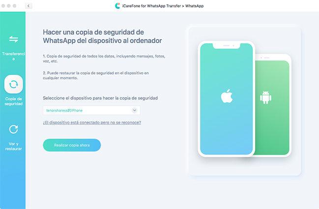 seleccionar icono de whatsapp para respaldar los datos de whatsapp con icarefone transferencia de whatsapp
