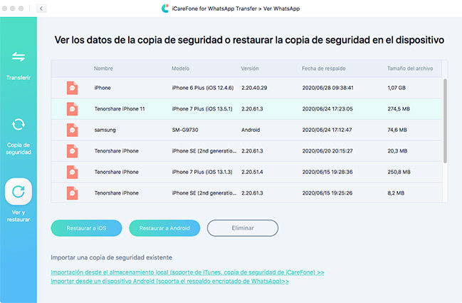 Restaurar los datos de whatsapp en iphone a través de icarefone whatsapp transferencia