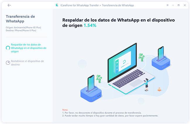 respaldar los datos en icarefone-ios whatsapp transferencia