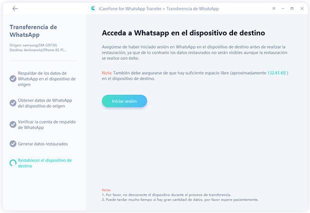 restablecer el dispositivo de destino por icarefone-ios whatsapp transferencia