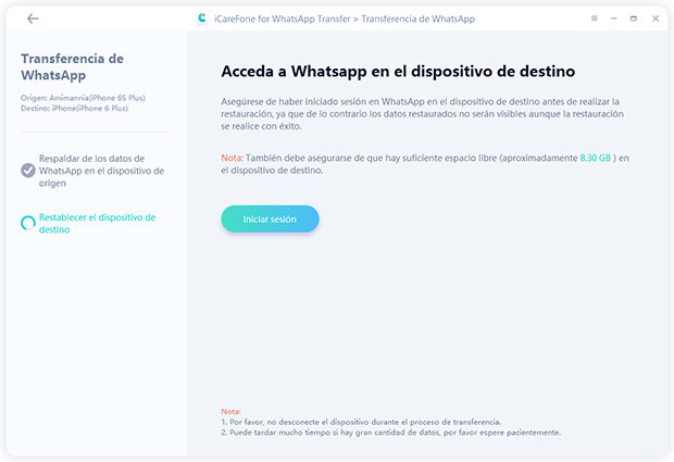iniciar sension para acceder transferencia en icarefone-ios whatsapp transferencia