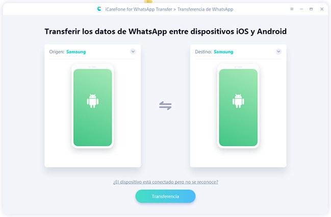 transferir los datos por icarefone-ios whatsapp transferencia