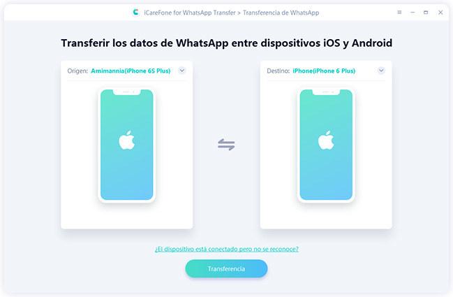 transferir datos de iphone a iphone por icarefone-ios whatsapp transferencia