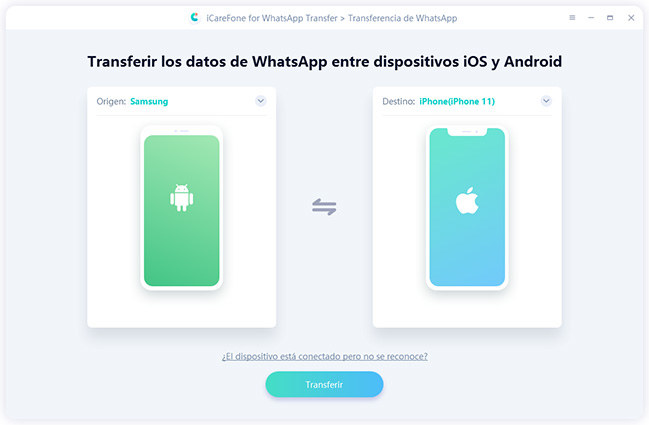 transferir datos de android a iphone por icarefone-ios whatsapp transferencia