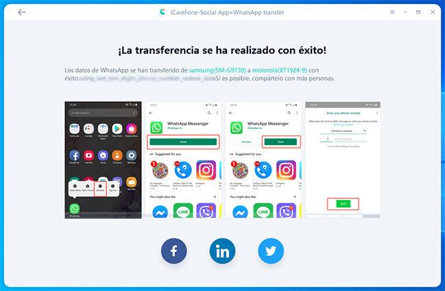 completa transferencia entre dos dispositivos por icarefone-ios whatsapp transferencia