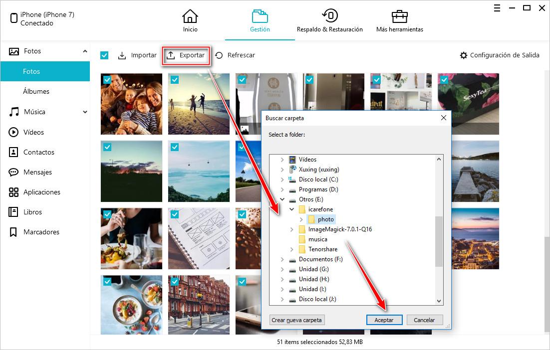 transferir fotos con icarefone