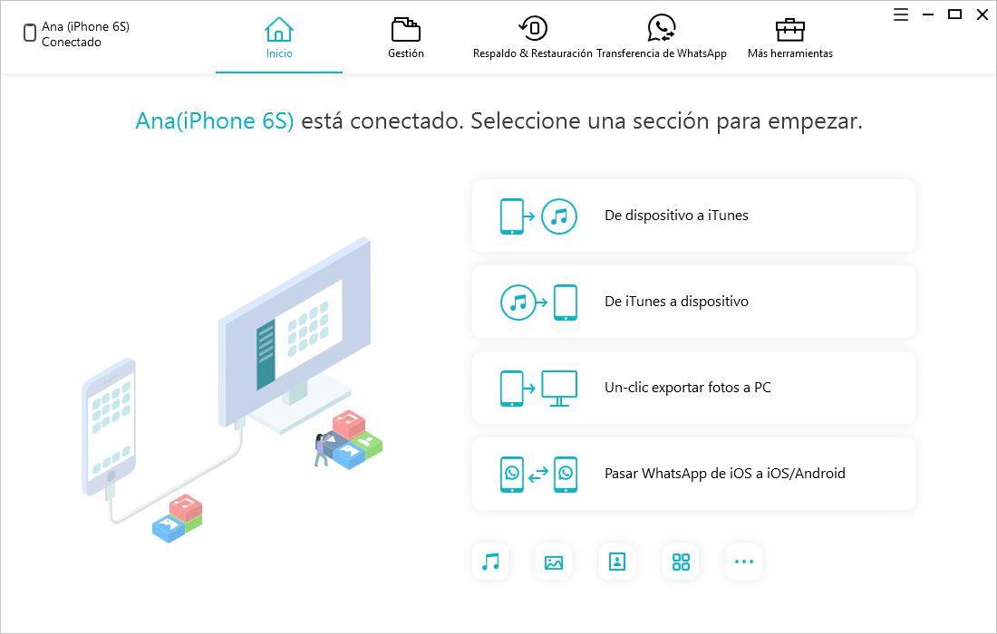 interfaz inicio icarefone