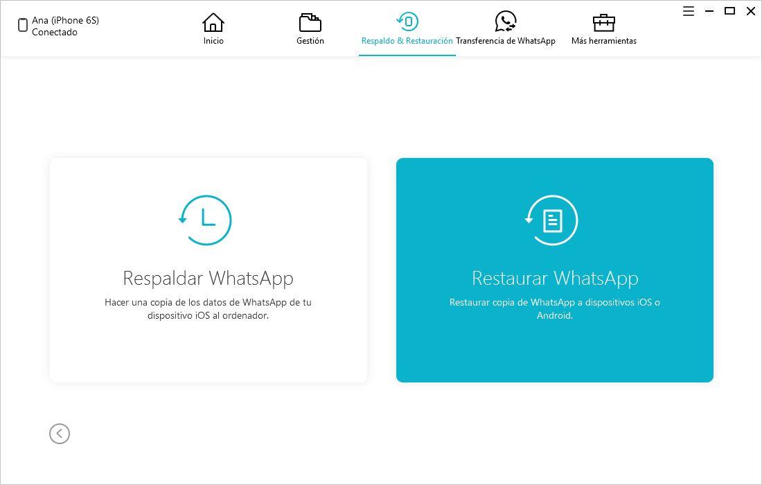 restaurar copia de seguridad whatsapp con icarefone