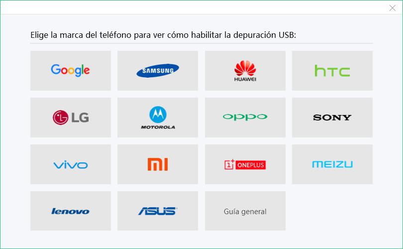 depuración usb de distintos marcas android
