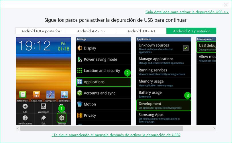depuración usb android 2.3