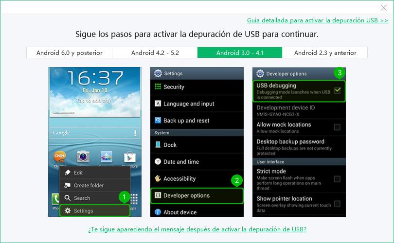 depuración usb android 3.0