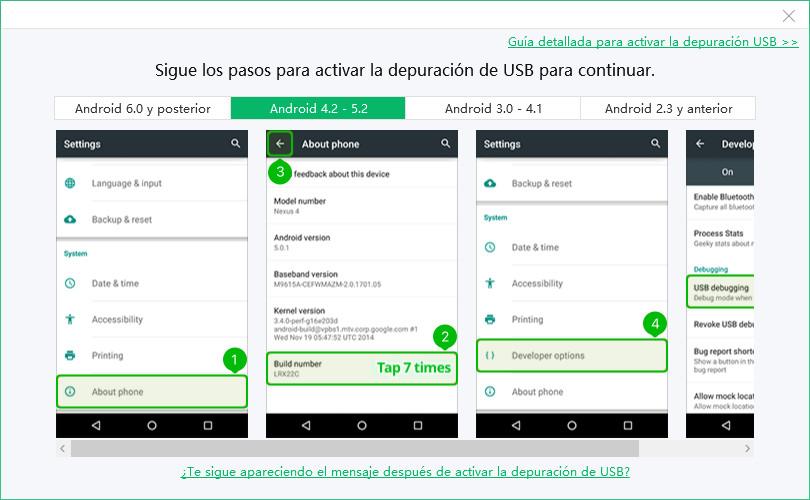 depuración usb android 5.2
