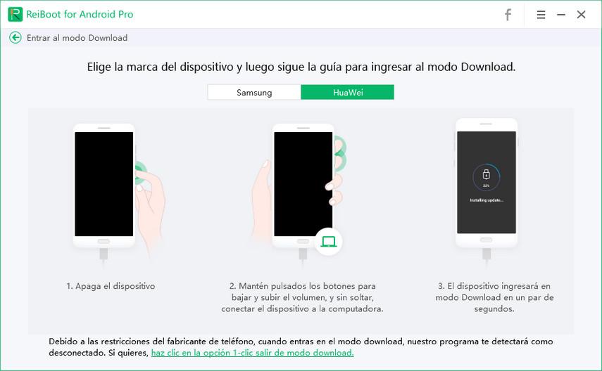 entrar modo download huawei