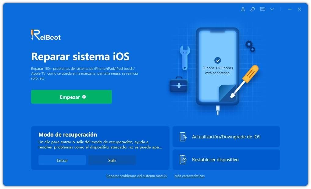 poner iphone en el modo de recuperación por reiboot