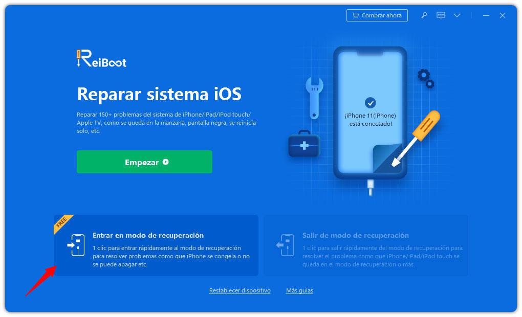 haz clic en entrar para poner iphone en modo recuperación con reiboot