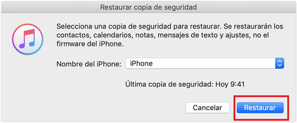 restaurar copia de seguridad itunes