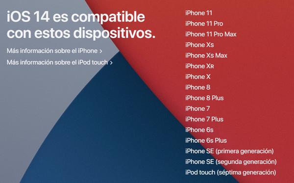 si no has podido actualizar ios 14 comprueba la compatibilidad de iphone