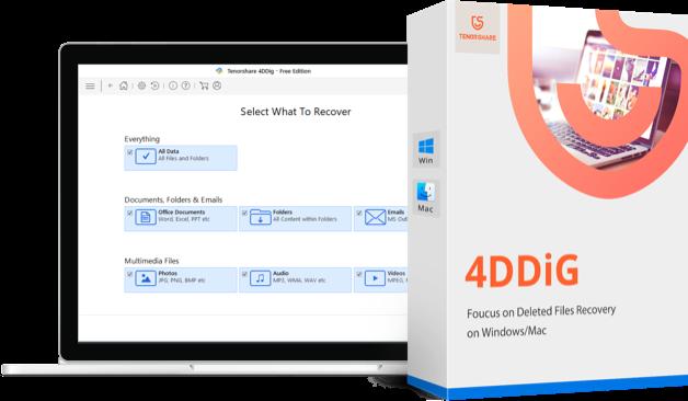 4DDiG - caja de producto de recuperación de datos mac