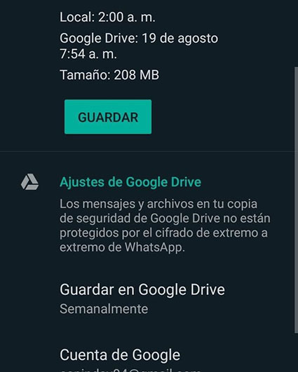 Guardar copia de seguridad whatsapp en google drive